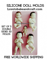 Polymer clay Doll molds, 5 Doll moulds, Doll molds, Fimo, Sculpey, Doll moulds, Clay, Set of 5, Baby doll molds, Free worldwide shipping (1)